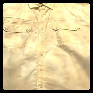 Men's short sleeve button up cream shirt